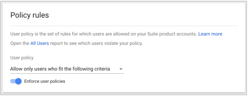 Google analytics User policy setup showcasing the new enforced policy option