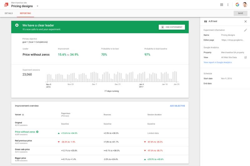 Google Optimize - Example Screen