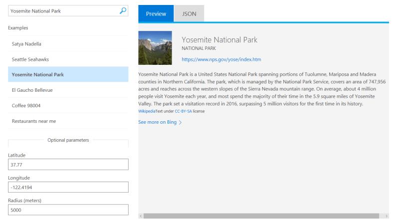 Bing Entity Search Example Screenshot