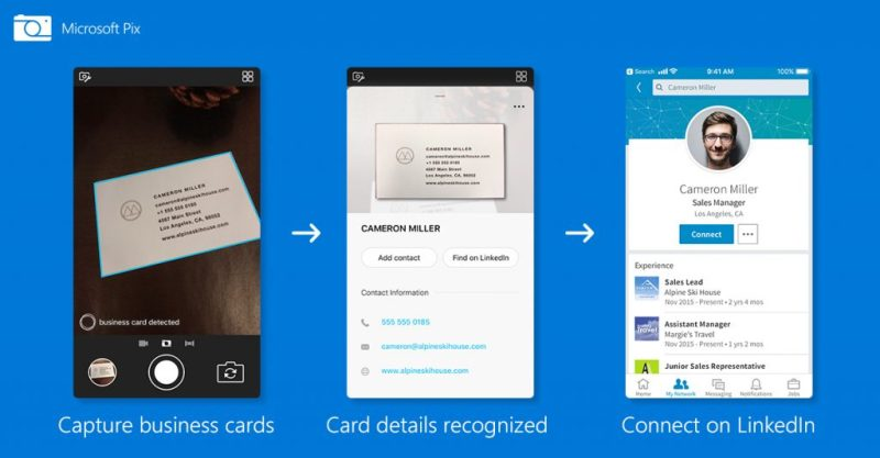 Microsoft Pix scan and save business card into iPhone address book and LinkedIn