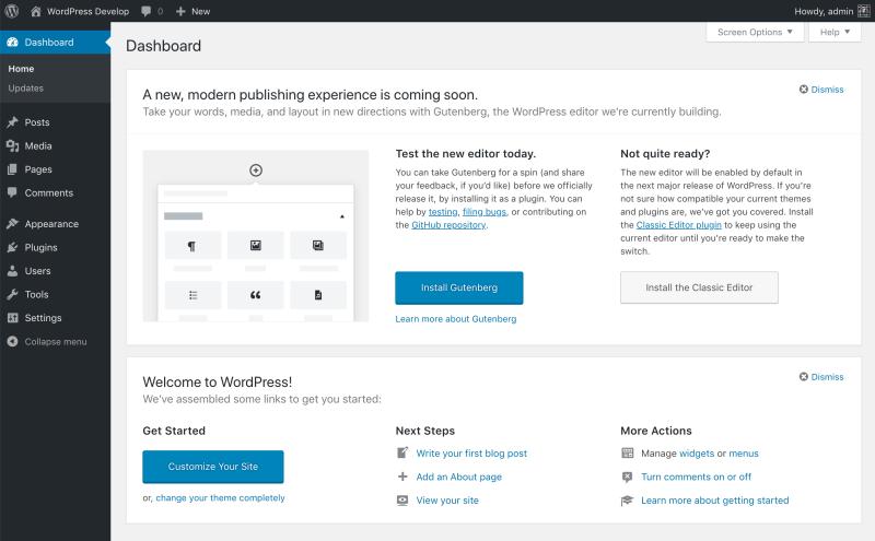 Try Gutenberg callout in WordPress 4.9.8 dashboard