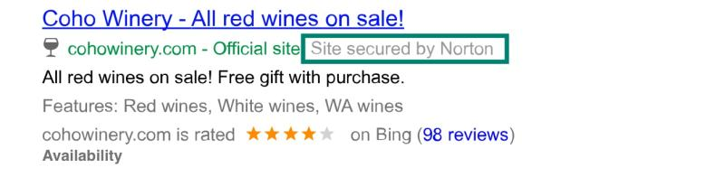 Bing Ads Security Badge Annotation in US Search Results