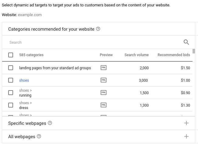 select dsa for standard campaigns' landing pages in google account
