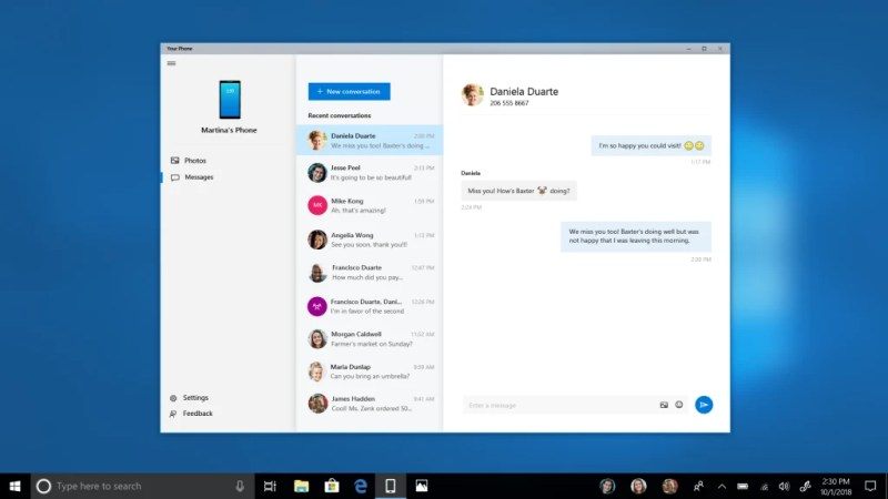 Your Phone app on Windows 10 Build 17755 Adds SMS support
