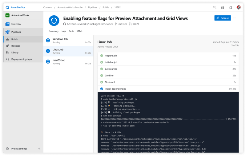 Azure Pipelines used independently to build a GitHub repo: