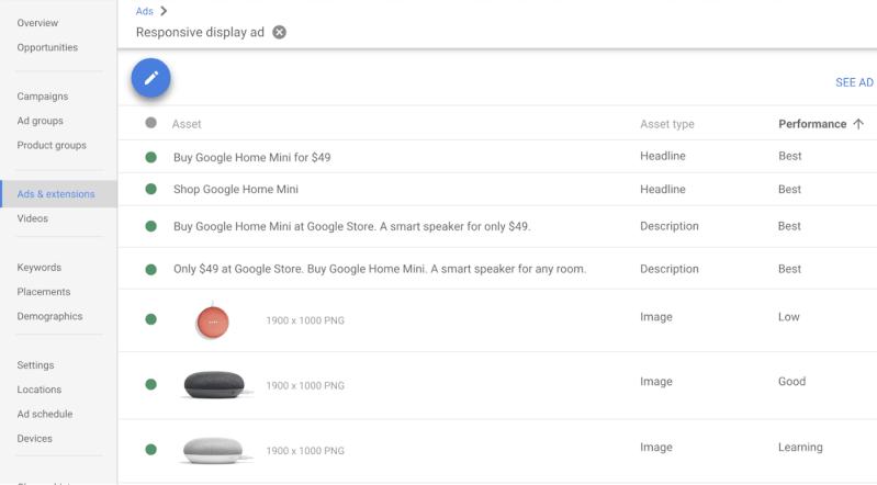 Google Responsive Display Ads Asset Report
