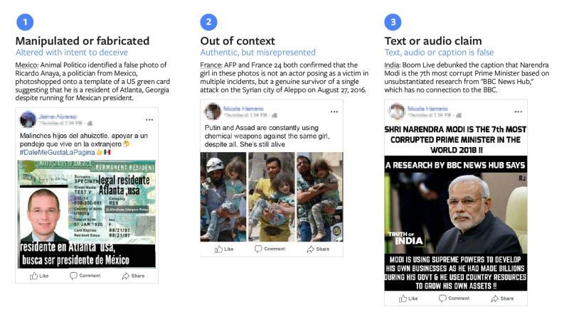 Facebook Categorization of false photos and videos