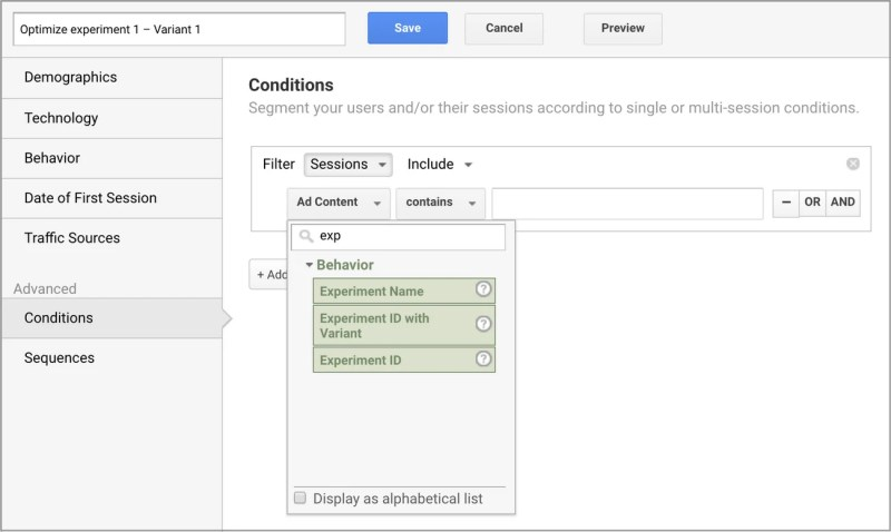 Google Optimized New Analytics Dimension