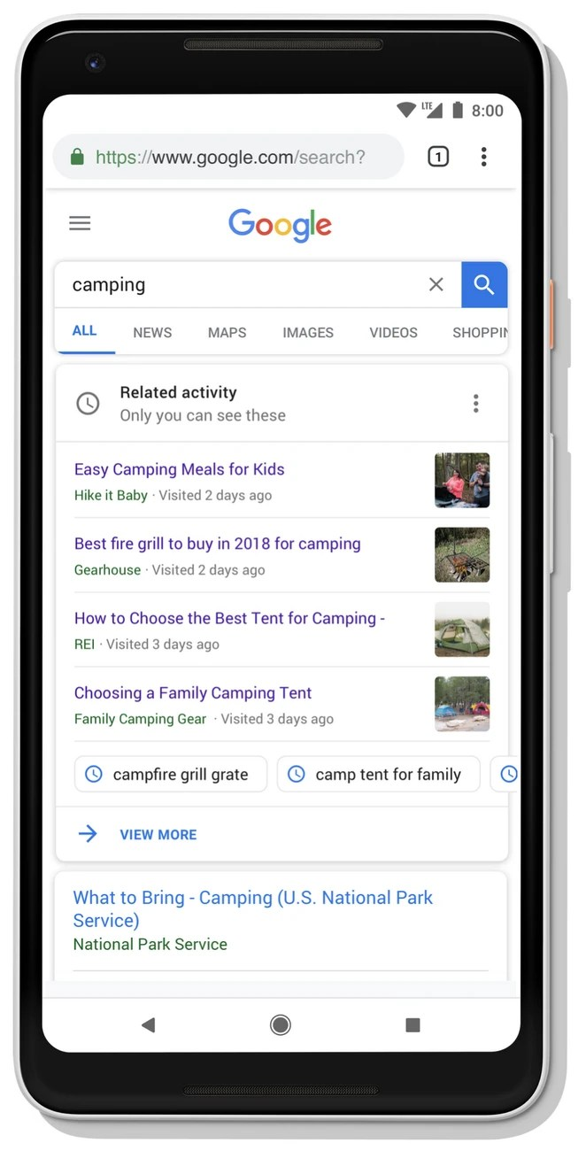 Google Search Activity Card