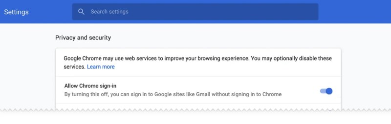 Google Chrome 70 Allow Sign in Setting