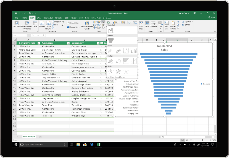 Excel 2019 offers new formulas,funnel charts,2D maps, timelines