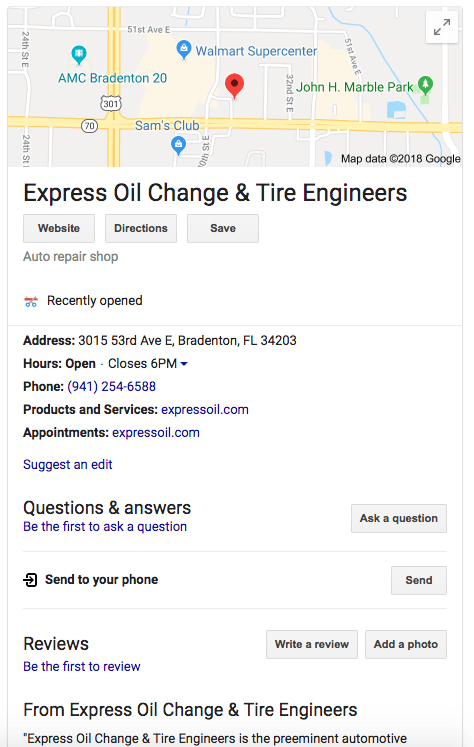 Google My Business Shows Whne a Business Opened in Local Listing