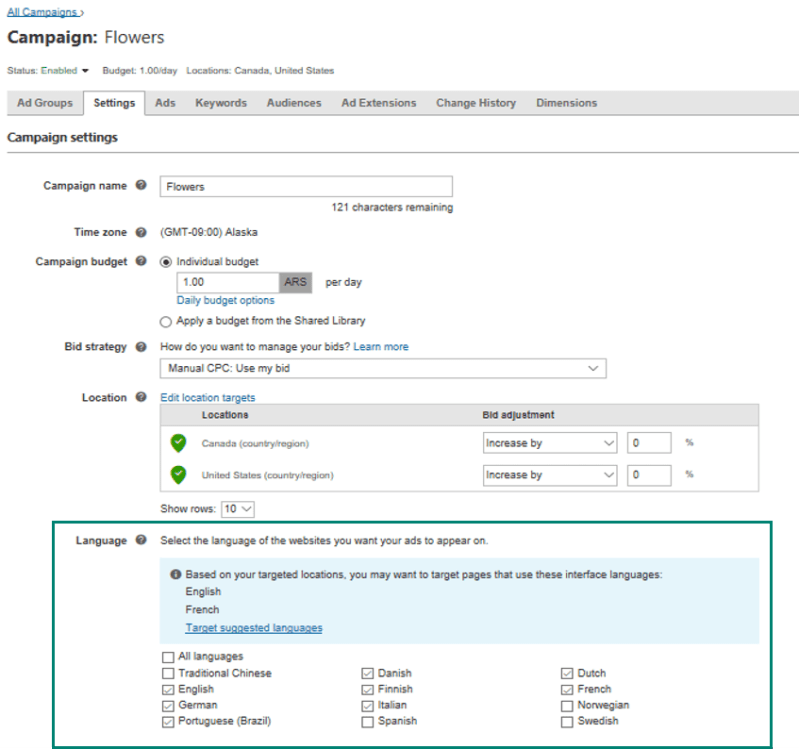 Bing Ads Language Targeting under campaign view
