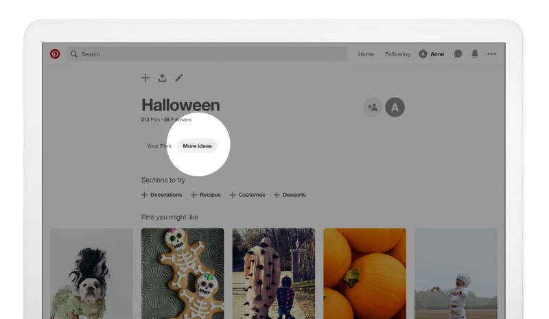 Pinterest New Section Recommendations