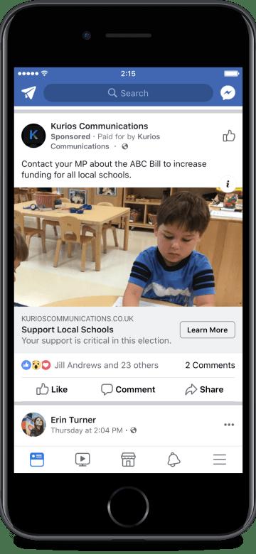 Facebook Advocacy Ad UK Example