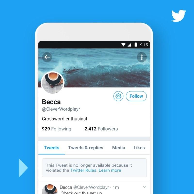 Twitter UI for deleted tweet notification