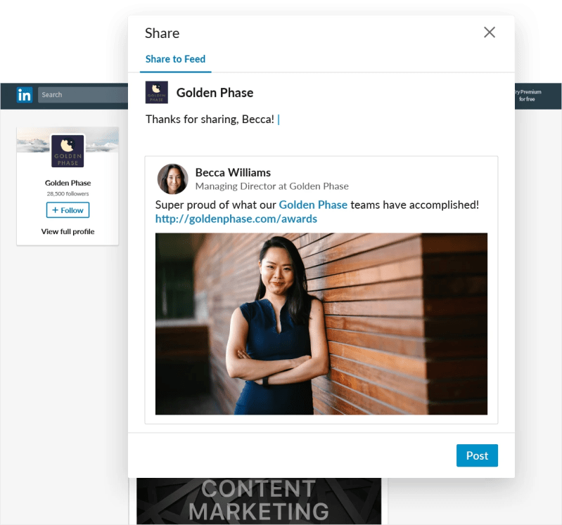LinkedIn Pages can discover and reshare employees public posts