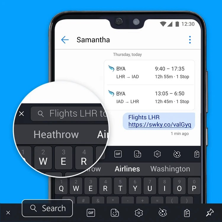bing search integrates with swiftkey for android