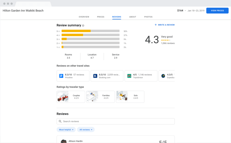 Google Hotel Search Results on desktop - reviews from around the web\