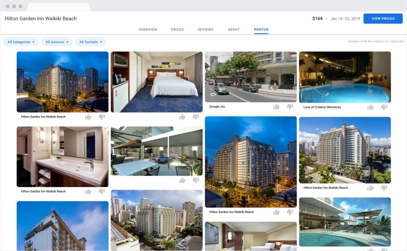 Google Hotel Search Results on Desktop: Photos from the hotel or fellow traverllers