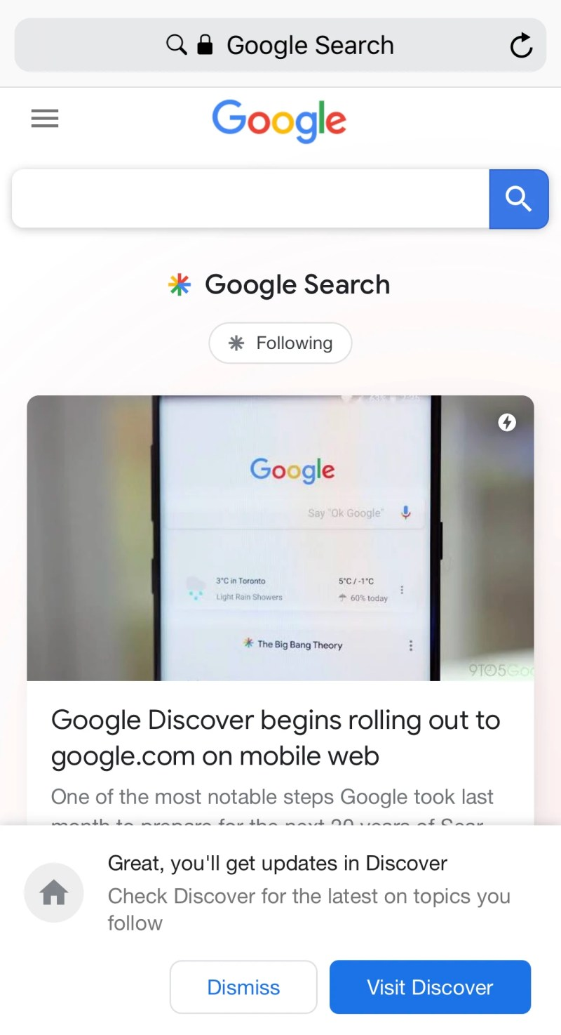 Redesigned Google Mobile Homepage with Google Discover