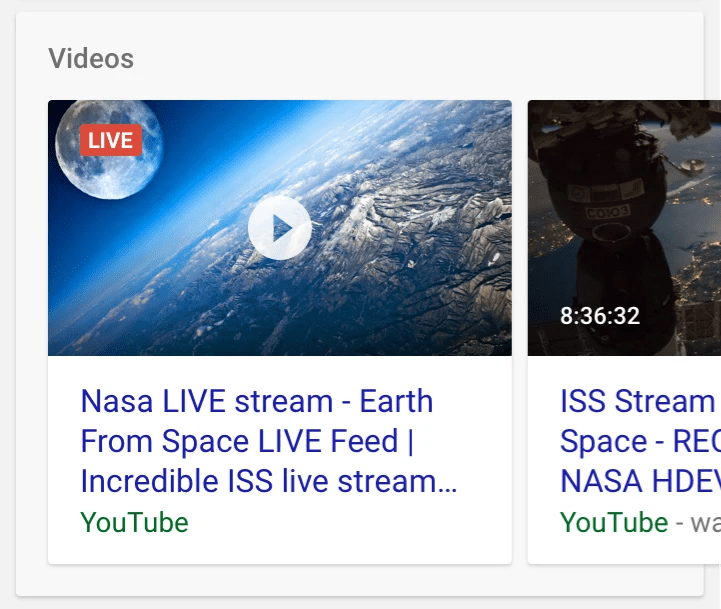 livestream video in google search results with red live badge