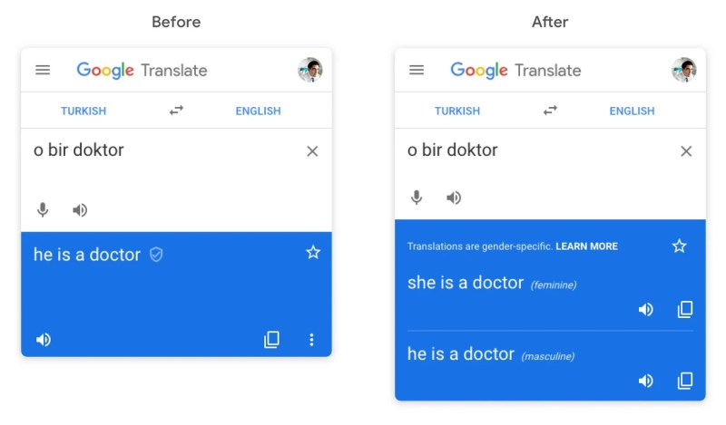 Gender-specific translation on Google Translate on web