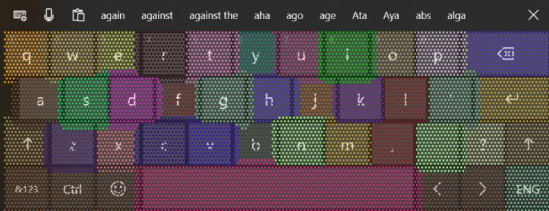 Windows 10 19H1 Build 18298 Touch keyboard underlying heatmap