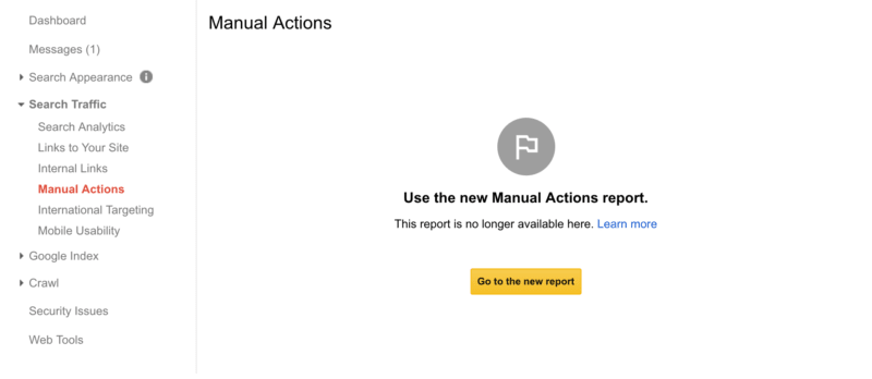 User Manual Actions Report in New Google Search Console