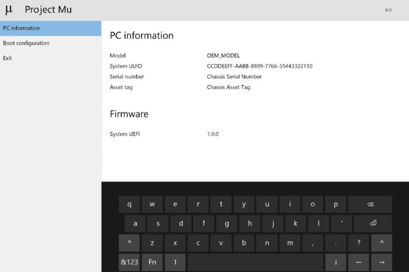 Microsoft Project Mu shows PC information