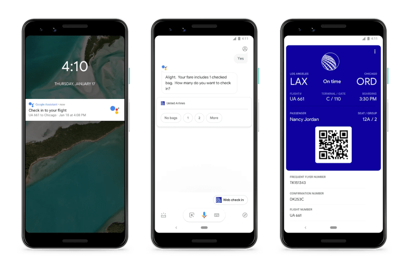 Google Assistant Airline Check-in and Hotel Booking