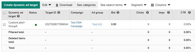 Bing Ads Newly created custom label target tracking