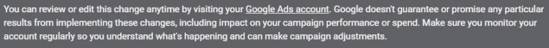 google ads complimentary ad campaign support disclaimer