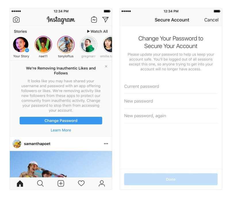 Instagram Removes inauthentic likes, follows and comments from accounts