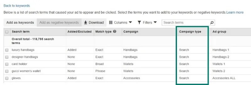 Bing Ads New Campaign Type Column in All Campaigns Keywords tab
