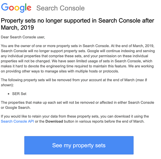 Google to Retire Property Sets in Search Console