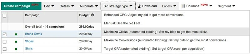 Bing Ads Campaigns tab with Bid Strategy type menu
