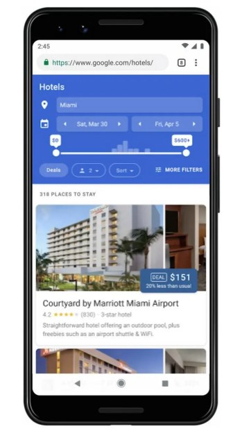 Google Hotel Deals Filter