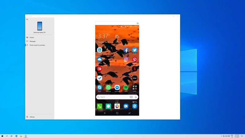 Android Phone Mirroring via Your Phone App on Windows 10 PC