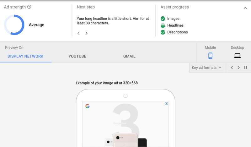 Mew ad strength scorecard shown above ad preview in Google Ads