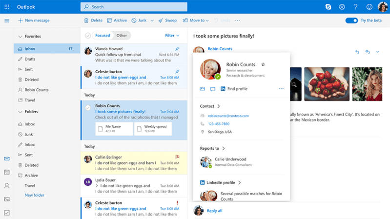 New Profile card in Outlook beta