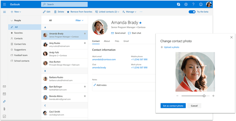 Add a personal touch by uploading a photo of your contact in Outlook