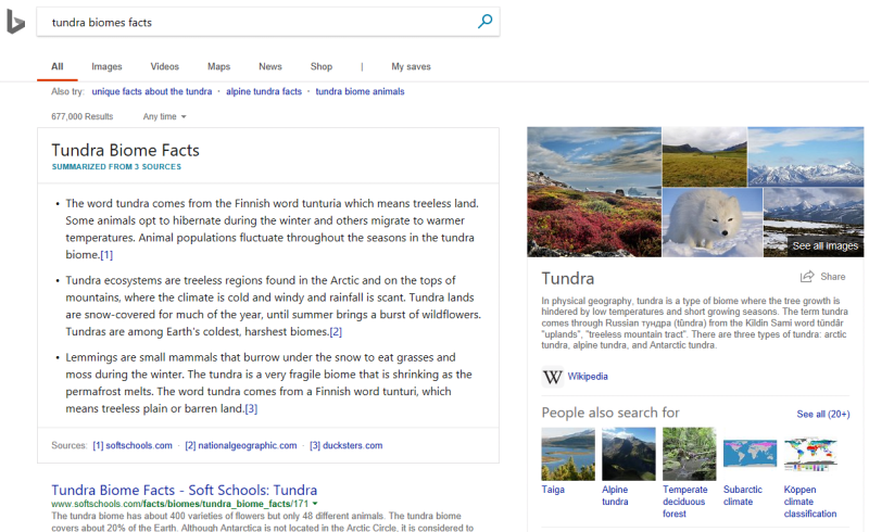 Bing Intelligent Search: Facts from Multiple Sites