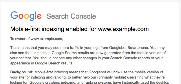 Mobile-first indexing: Google Search Consile notification