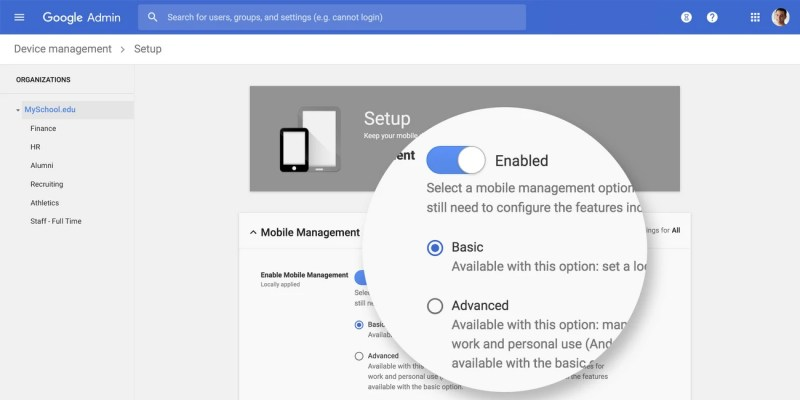 G Suite Enterprise for Education Advanced Mobile Device Management