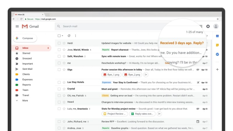 Nudge in new Gmail