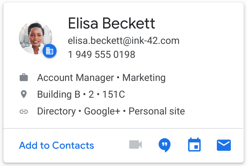 Contact Card in new Gmail