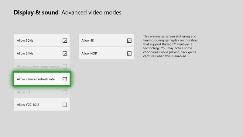 Variable Refresh Rate Setting on Xbox One X and S