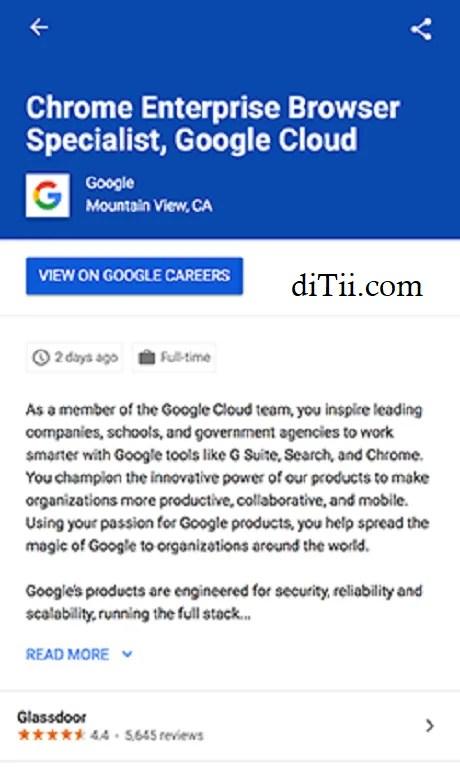 Google Job listing with reveiws