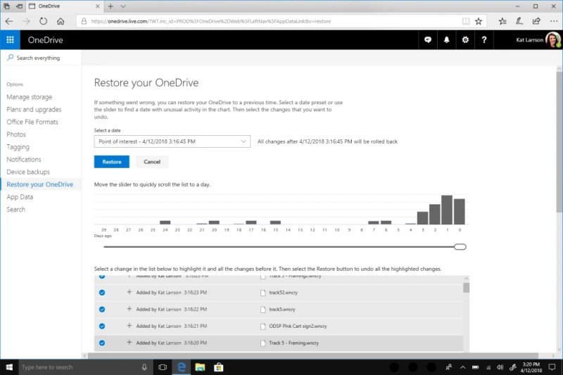 OneDrive Files Restore with Windows Defender